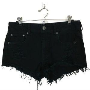 american eagle | hi rise black distressed shorts 8